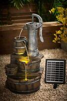 Solar Garden Water Pump Barrel Feature Fountain Light Statue Cascade Ornament