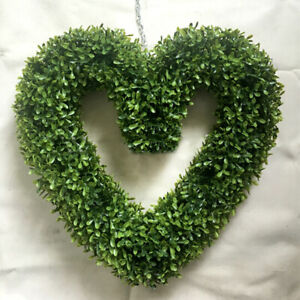 Large Heart Shaped Topiary Ball Green Artificial Boxwood Hanging Wreath 42*38CM