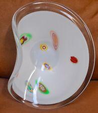 Lavorazione Murano Millefiori  White & Clear Abstract Glass Bowl