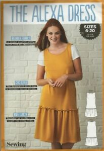 Simply Sewing Pattern for The Alexa Dress, Jersey Pinafore Sizes 6-20, New