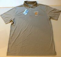 NWT Nike Golf Dri Fit SOCASTEE GOLF LOGO Gray Striped Polo Shirt Size Large L