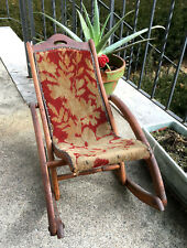 Active Antique Marked 1876 Floral Tapestry Carpet Seat Wooden Folding Chair Chairs Furniture Rare!!