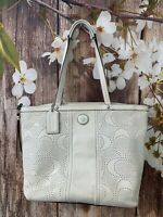 Coach Signature Stripe Perforated Leather Tote/Shoulder Bag Ivory F21941