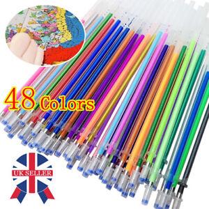 48 Color Gel Pens Refills Coloring Book Art Drawing Glitter Neon DIY Refills