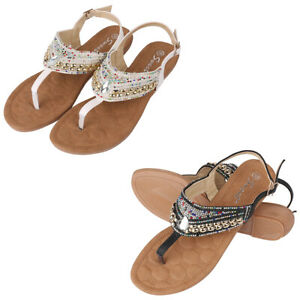 Women Summer Leather Flat T-Strap Rhinestone Thong Sandals Casual Shoes Size 6-9