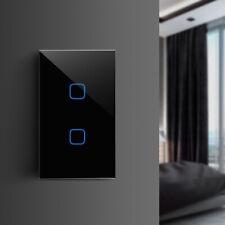LED Light Touch Screen Sensor Wall Switch 1Way 1 2 3 Gang Crystal Glass Panel US