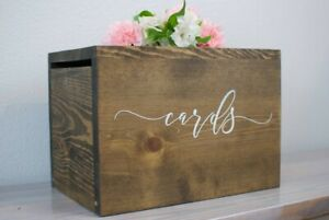 Rustic Wooden Wedding Card Box With Lock (Slot Card Holder)