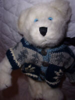 """The Boyds Collection White Bear Blue Sweater 13"""" Plush Soft Toy Stuffed Animal"""