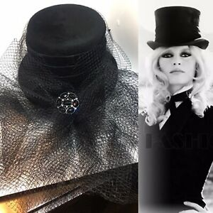 DROOPY & BROWN VINTAGE RIDING VICTORIAN VAMP Goth Top Hat Detachable Lace Veil