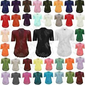 New Womens Crochet Knitted Bolero Shrug Open Front Cardigan Top Size UK 8-30