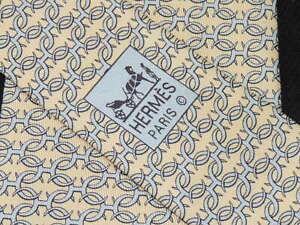 """HERMÈS PARIS MEN'S TIE YELLOW, BLUE/LINK 5147 HA  3.75"""" 60"""" FRANCE"""
