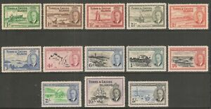 Turks & Caicos Islands #105-117 - 1950 1/2p to 10sh King George VI