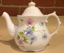 White with Pink And Bluish Lavendar Flowers Tea Pot - DesignPac Inc.