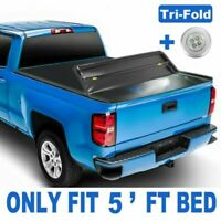 5FT Bed Tri Fold Truck Tonneau Cover For 2020 Jeep Gladiator JT w/ Led Lamp