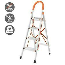 New Non-slip 4 Step Aluminum Ladder Folding Platform Stool 330 lbs Load Capacity