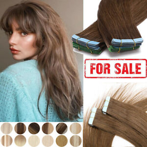 Skin Weft Tape In Remy Human Hair Extensions Invisible Full Head Straight THICK