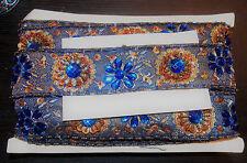 Blue Bronce Joya Lentejuelas indio Pastel de Bodas Baile Disfraz cinta de diamantes de imitación