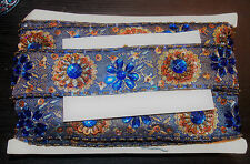 blue bronze Jewel Sequin Indian wedding cake dance costume ribbon rhinestone