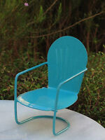 Miniature Dollhouse FAIRY GARDEN Furniture ~ Blue Metal Glider Chair ~ NEW