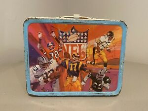 1978 Vintage Metal NFL NFC/AFC Conference Football Lunch Box W/thermos