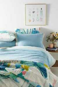 Anthropologie Woven Andree Duvet Cover Textured Blue Knit Stripe King 96 X 104