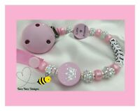 ♕ PERSONALISED 8 Letters DUMMY CLIP CHAIN ♕ LITTLE PRINCESS ♕ PINK & SPARKLE♕