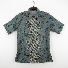 Batik Keris Blue Floral Lined Short Sleeve Shirt Hidden Button front Mens 17 M/L