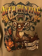 Vintage 1995 Deer Hunting An American Tradition T-Shirt Tan W/ Amazing Graphics