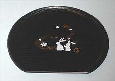 Japanese Plastic Sushi Plate Half Moon Bunny Black 1926 S-1908