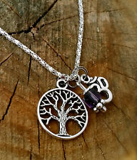 Amethyst Healing Crystal Reiki Light TREE OF LIFE  OM Spirit Necklace