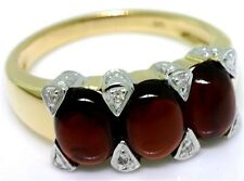 Antique Style Ring 30 Day Returns 3.75ct Garnet Cabochon Diamond 9ct Solid Gold