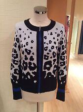 Oui Cardigan Size12 Bnwt Black Blue Cream Animal Print RRP £150 Now £37
