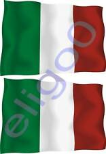 2x ITALY STICKER WAVING FLAG BUMPER decal