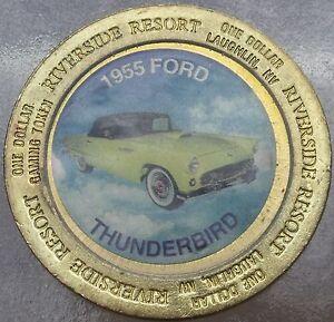 LARGE RIVERSIDE RESORT GAMING TOKEN~1955 FORD THUNDERBIRD