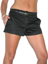 ladies shorts clubbing hot pants FREE belt black sizes NEW 8-16