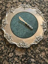 """Marble & Silver Cheese Serving Tray Grapevine Green 13"""" Diameter With Knife"""