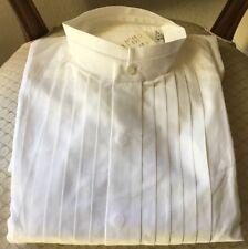 White Medium 15-15.5 Banded Collar Nehru Mandarin Tuxedo Western Shirt Costume