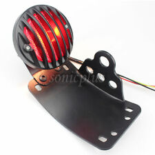 Curved License Plate Mount+Grill Rear Brake Stop Tail Light Universal Motorcycle