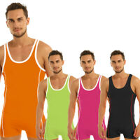 Men's Bodysuit Wrestling Singlet Jumpsuit Briefs Underwear Leotard Fitness Vest