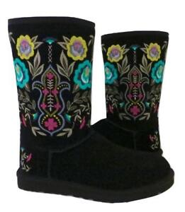 New NIB Ugg Juliette Embroidered Black Suede & Shearling Women's Boots  RARE! 5