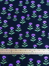 Fat Quarter Scottish Thistles on Black 100% Cotton Quilting Fabric - NUTEX