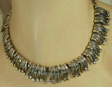 Classy Modernist Silver Tone Cleopatra Collar Necklace 315JL6