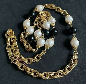 """Vintage Heavy Long Gold Tone Beaded Necklace 30"""" P05"""