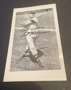 1950's TED WILLIAMS HUB APPAREL BASEBALL PROMOTIONAL SALUTATION POSTCARD (HOF)