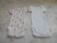 Preemie Baby Girl Child Mine Pink Giraffe & Solid White Creeper Romper Set