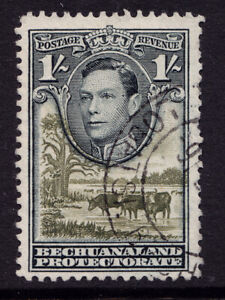 Bechuanaland 1938 fine used KGVI black and brown-olive one shilling stamp SG no.