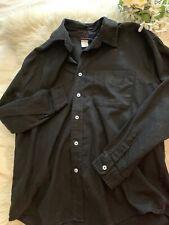 Fresh Produce Mens S Black Long Sleeve Button Down Cotton Shirt