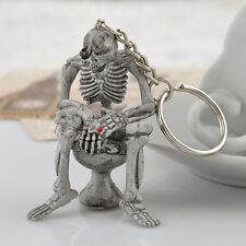 "3D SMOKING SKELETON SITTING ON A TOILET 2 1/4"" x 1 1/2"" RUBBER Key Ring Keychain"
