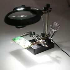 3 Lens 5 LED Light Magnifier Helping Hand Soldering Stand With Magnifying Glass