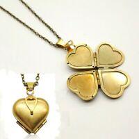 Fashion Folding 4 Photos Album Locket Pendant Heart Clover Family Tree Necklace